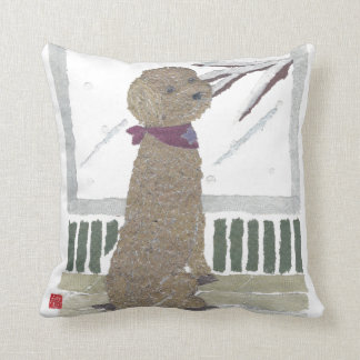 Red Poodle Throw Pillow