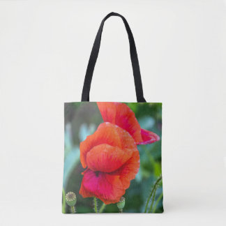 Red poppies all-over-print tote bag