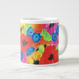 Red Poppies and Blue Cornflowers Floral Pattern Giant Coffee Mug