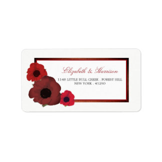 Red Poppies and Burlap Wedding Label