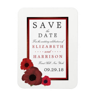 Red Poppies and Burlap Wedding Save The Date Magnet