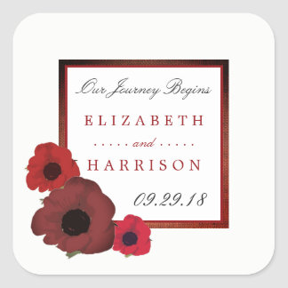 Red Poppies and Burlap Wedding Square Sticker