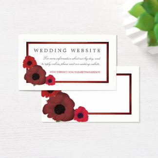 Red Poppies and Burlap Wedding Website Business Card