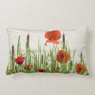 red poppies and cattails lumbar pillow