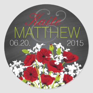 Red Poppies and Chalkboard Wedding Label