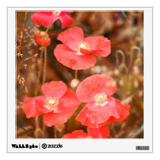 Red Poppies and Grasses, Indian Summer Wall Sticker