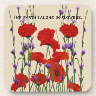 Red Poppies and Purple Bachelor Buttons Beverage Coasters