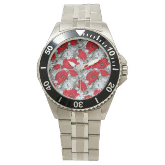 Red poppies and white daisies floral pattern watch
