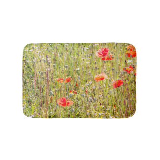 Red Poppies and Wildflowers Floral Field Bath Mat