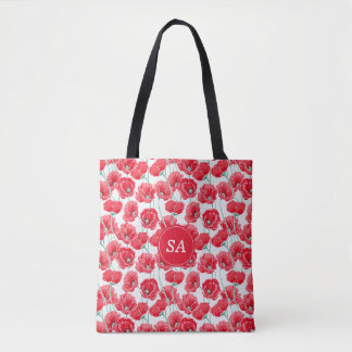Red Poppies Back to School Dorm Essentials Tote Bag