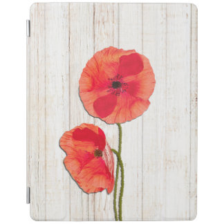 Red poppies barn wood background poppy barn wood iPad cover