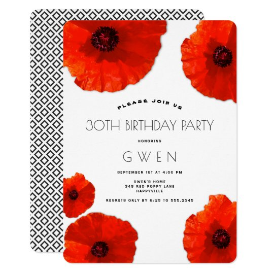 Red Poppies Birthday Party Invitation