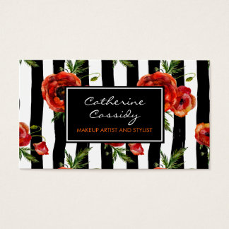 Red Poppies, Black and White Stripe, Makeup Artist Business Card