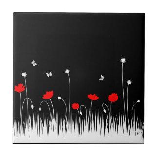 Red poppies black background ceramic tiles