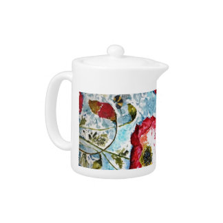 Red Poppies Bumblebee Watercolor Art Teapot