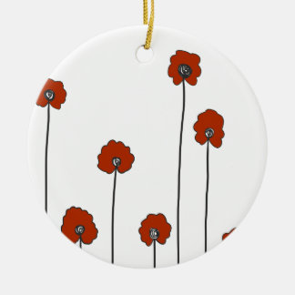 red poppies ceramic ornament