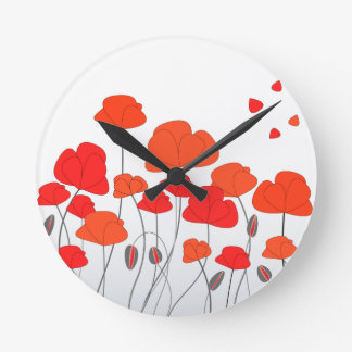 Red Poppies Clock