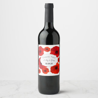 Red Poppies Custom Wedding Wine Labels