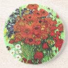 Red Poppies & Daisies Van Gogh Fine Art Coaster