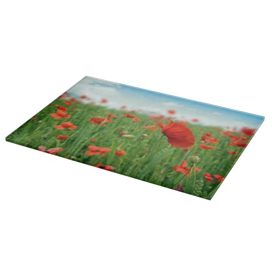 Red poppies field cutting board