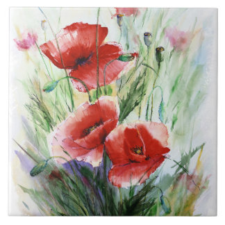 Red Poppies, Fine Watercolor by N.Stangrit Tiles