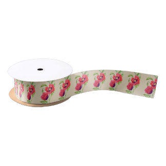 Red Poppies Floral Art Satin Ribbon