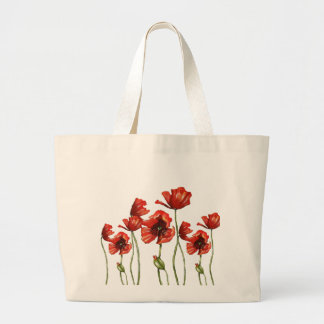 Red Poppies Floral Design Large Tote Bag