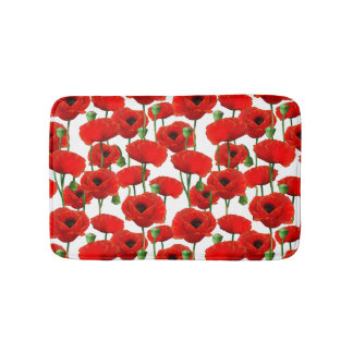 Red Poppies Floral Pattern Bath Mat