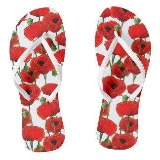 Red Poppies Floral Pattern Flip Flops