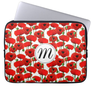 Red Poppies Floral Pattern & Monogram Laptop Sleeve