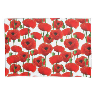 Red Poppies Floral Pattern Pillowcase