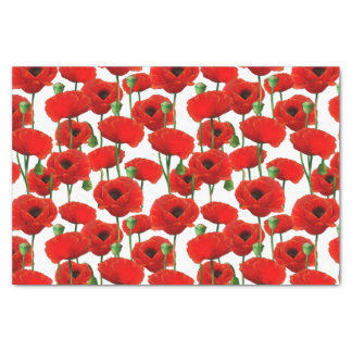 Red Poppies Floral Pattern Tissue Paper