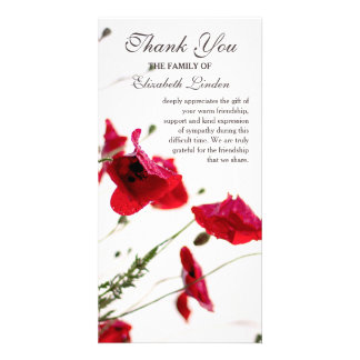 Red Poppies | Floral Sympathy Thank You Photo Card