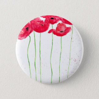 Red poppies flowers trendy traditional flowers 2 inch round button