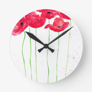 Red poppies flowers trendy traditional flowers round clock