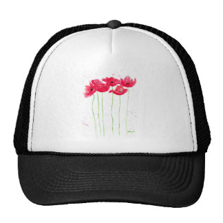 Red poppies flowers trendy traditional flowers trucker hat