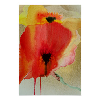 Red Poppies fluid watercolour modern flower Poster