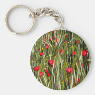 Red Poppies In A Cornfield Basic Round Button Keychain