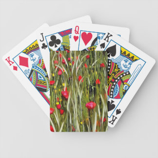 Red Poppies In A Cornfield Bicycle Playing Cards