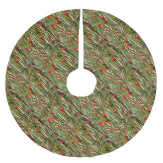 Red Poppies In A Cornfield Brushed Polyester Tree Skirt