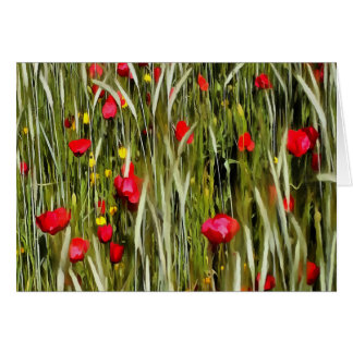 Red Poppies In A Cornfield Card