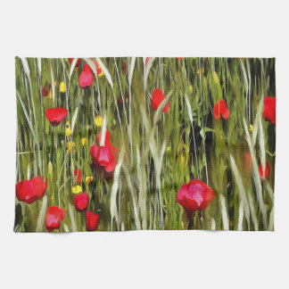 Red Poppies In A Cornfield Kitchen Towel