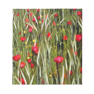 Red Poppies In A Cornfield Notepad