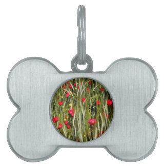 Red Poppies In A Cornfield Pet Tag