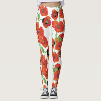 Red poppies leggings