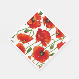 Red Poppies Luncheon Paper Napkins