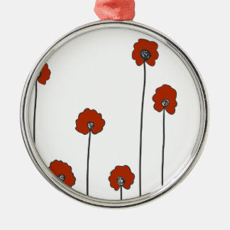 red poppies metal ornament