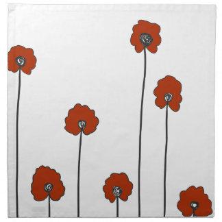 red poppies napkin