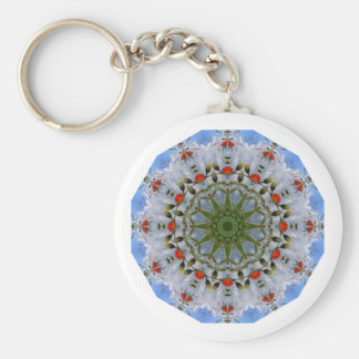 Red Poppies Nature, Flower-Mandala Basic Round Button Keychain