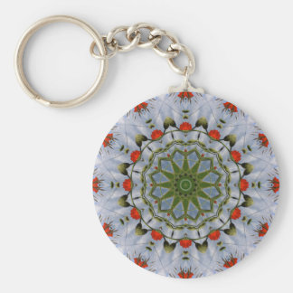 Red Poppies Nature, Flower-Mandala Basic Round Button Keychain